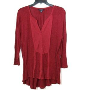 Lucky Brand maroon linen button down hi lo blouse